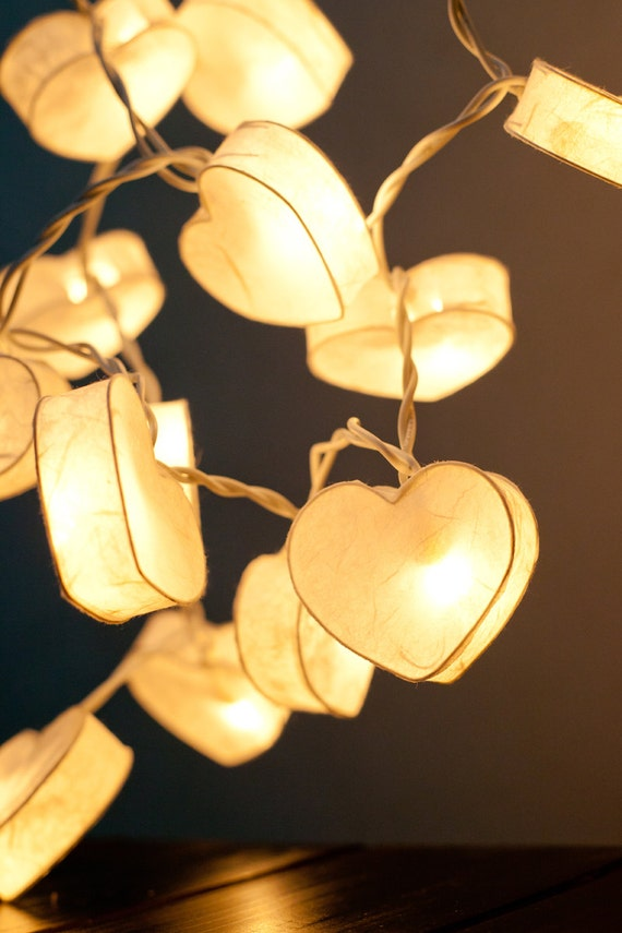 Paper Lantern String Lights Wedding : 20 Battery Powered LED Romantic White Heart Paper Lantern