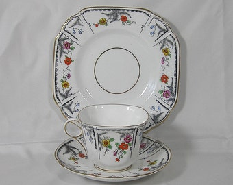 Melba Bone China Art Deco Tea Cup, Saucer and Side Plate Made In England
