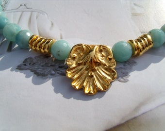 Amazonite necklace relief bead gold