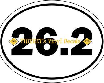 marathon 26.2 oval vehicle magnet or vinyl decal