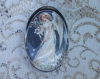 Beautiful Enesco Holographic Angel Oval Glass Paperweight