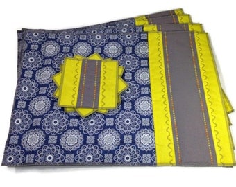Blue Yellow Placemats Quilted Table Linens Set of 4 Plus 4 Coasters