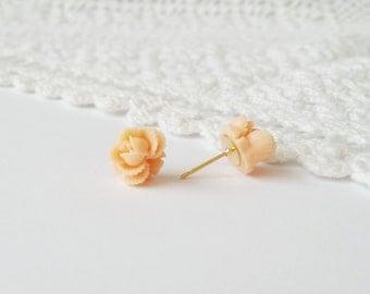 Peach flower studs, peach flower earrings, peach rose studs, peach rose earrings, peach earring studs, small peach rose earrings, gold posts