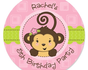 Pink Monkey Girl Circle Stickers - Personalized Baby Shower and Birthday Party Supplies - 24 Circle Sticker LAbels