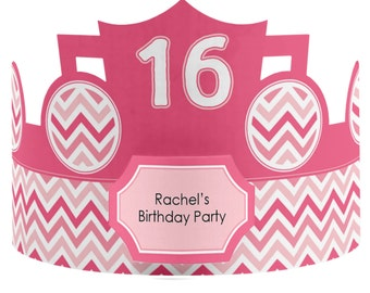 8 Custom Party Hat - Pink Chevron Birthday Party Supplies - 8 Count