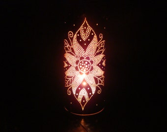 THAI FLOWER handmade punched copper tea light candle holder decorative gift
