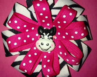 Zebra Print Hot Pink Hair Bow