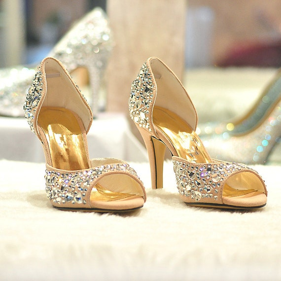 bling prom sandal handmade brown prom shoesbrown by