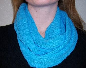 Spring scarf, blue nubby cotton gauze infinity scarf
