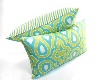 Free shipping/GREEN PILLOW COVER 20x20inches-Two sides-stripes-Green-turqoise-Robert Allen design-decorative piollow-Throw pillow-Handmade