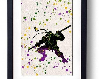 Teenage Mutant Ninja Turtles Donatello watercolor illustrations art children's room wall art home decor nursery art