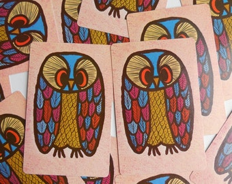 13 Vintage Owl Playing Cards Paper Ephemera Craft Supplies