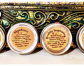 Vegan Lip Balm Gift Set / 4 tins Organic Lip Balm / BeeFree Lip Balm / Crystal Healing Romance Peace Metabolism Abundance / Stocking Stuffer