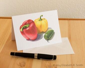 Pepper Watercolor Blank Notecard