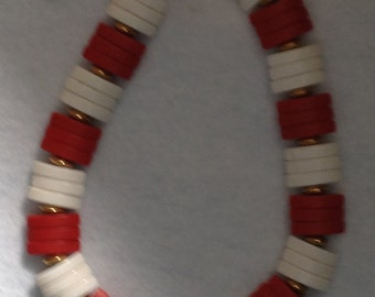 Vintage White and Red Necklace