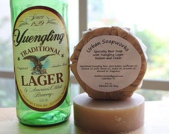 Beer Soap with Yuengling Lager, Balsam and Cedar, Cocoa Butter, Organic Olive oil, Fragrance oil Creamy Bubbly Lather