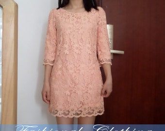 white pink lace dress spring autumn summer dress women dress clothing lace party dress office dress