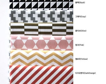 Scandinavian Nordic Style Simple Pattern Cotton Fabric - 6 Colors and Designs Selection