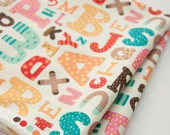 Alphabet Pattern Cotton Fabric Ivory by Yard