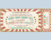 Carousel carnival ticket style Invitation. Blue, red, gold, tan, stars, bunting.  Printable, DIY. Birthday, bridal shower, baby shower.