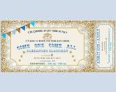 Carousel carnival ticket style Invitation. Blue, gold, bunting.  Printable, DIY. Birthday, baby shower. Boy carnival birthday.