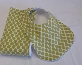 Baby bib and burp cloth set in Amy Butler Lotus Full Moon