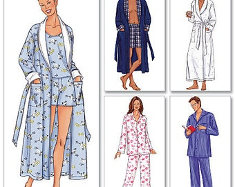 Butterick Sewing Pattern 6837 Men's/Women's Shawl Collar Robe, Belt, Tops, Shorts and Pants