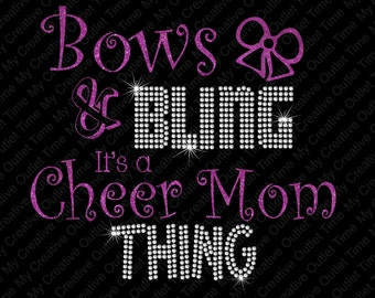 Custom Bows And Bling It's A Cheer Mom Thing Glitter Vinyl And Rhinestone Heat Transfer Customizable Decal