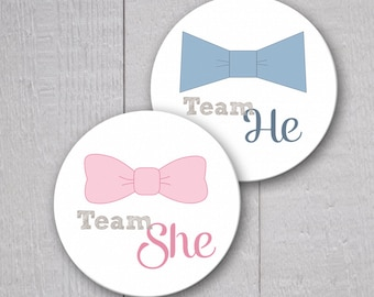 Gender Reveal Party Stickers, Team He Stickers, Team She Stickers, Choose Your Size (#173)