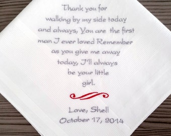 Father of The Bride Handkerchief. customized with embroidery. embroidered poem on handkerchief. Step father hanky. Handkerchief for step dad