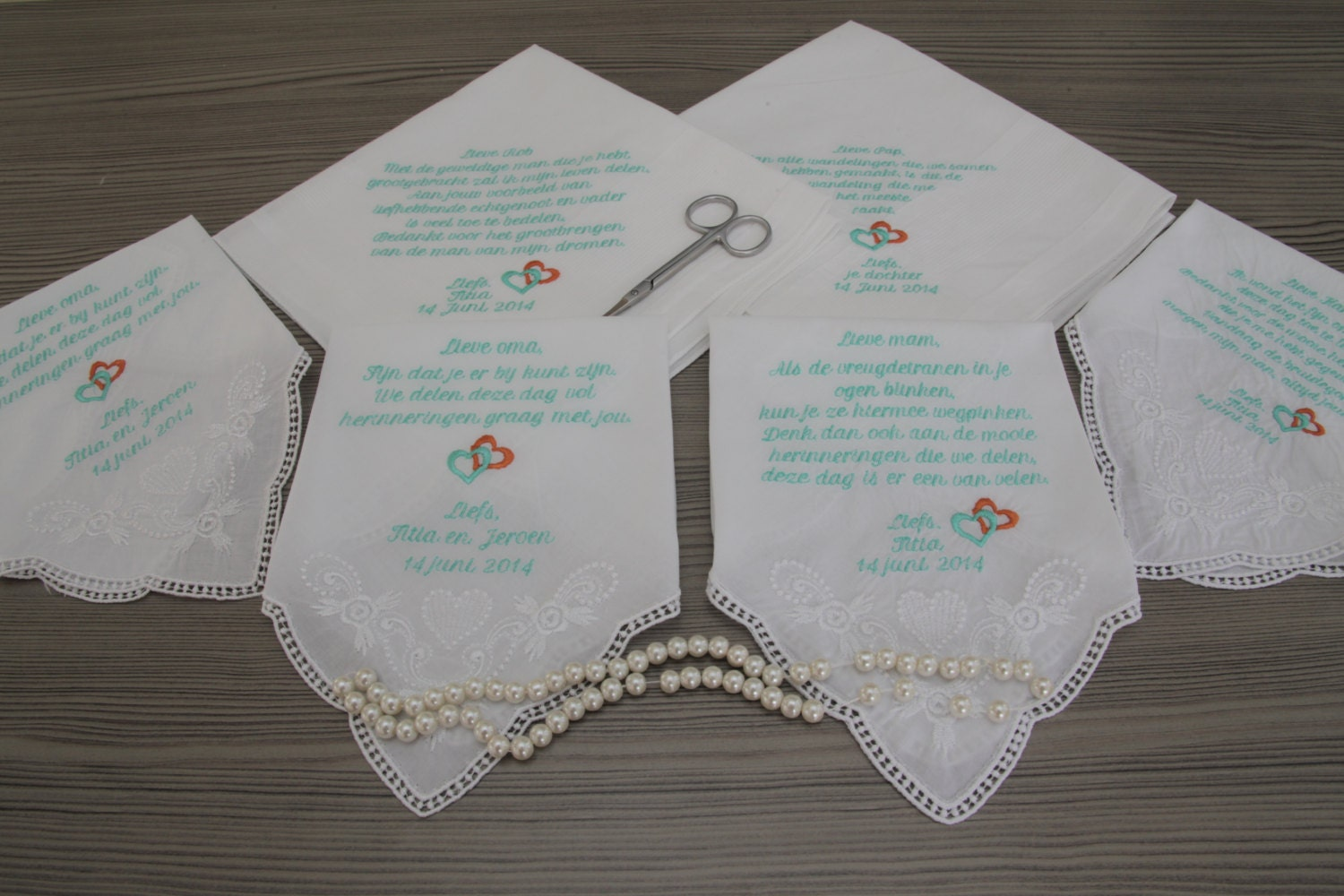 Wedding Gifts For Parents Handkerchief : Personalized 7 Wedding Handkerchiefs for Parents by PromiseForever