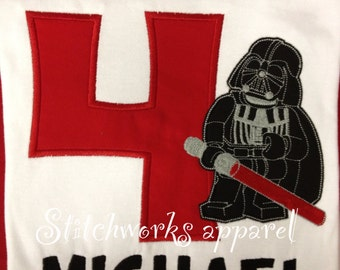 Darth Vader applique birthday shirt