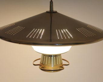 21 Inches BRASS PLATED SAUCER Pull Down Chandelier 4 Lights Retractable  From Imperialite Vintage Mid Century