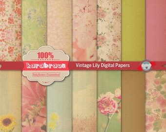 Vintage Lily digital papers, digital images, printables, patterns, backgrounds, digital clipart [SA4-004]