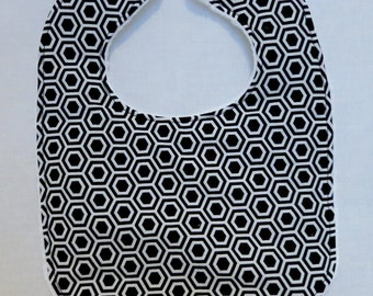SALE - Baby Bib - Modern Baby - Black and White Hexagon  - White Bubble Dot Minky - Handmade Baby Gift