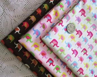 Fat Quarter ~ Cute Tiny Ellie Elephants Lines Print 100% Cotton Fabric for CRAFT