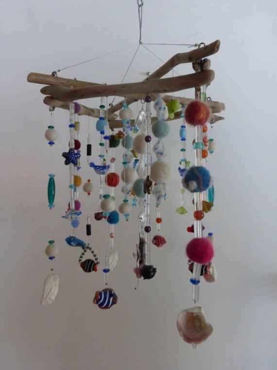 Mobile hanging mobile driftwood ceiling art zen art for Bricolage mobile en bois flotte