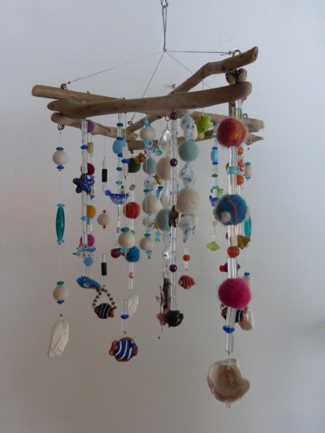 Mobile hanging mobile driftwood ceiling art zen by for Mobile en bois flotte