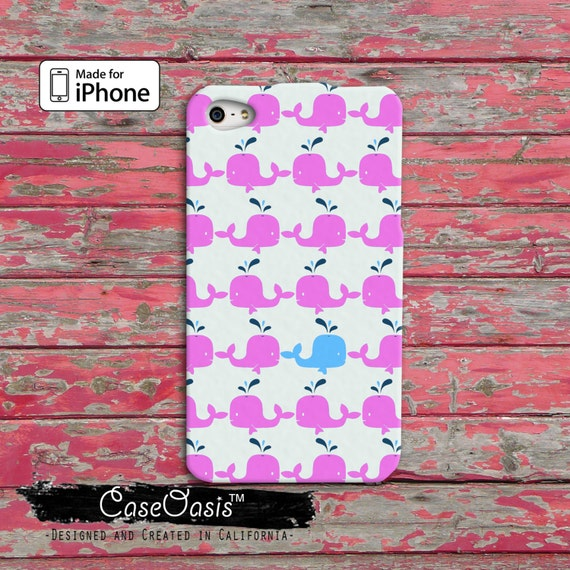 Whale Pattern Pink and Blue Cute Tumblr Inspired iPhone 5 and 5c Case ...