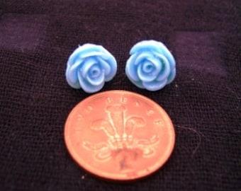Medium Glittery Blue Rose Studs