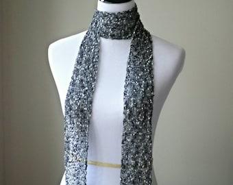 Sparkly Metallic Knit Scarf - glam skinny scarf with fringe