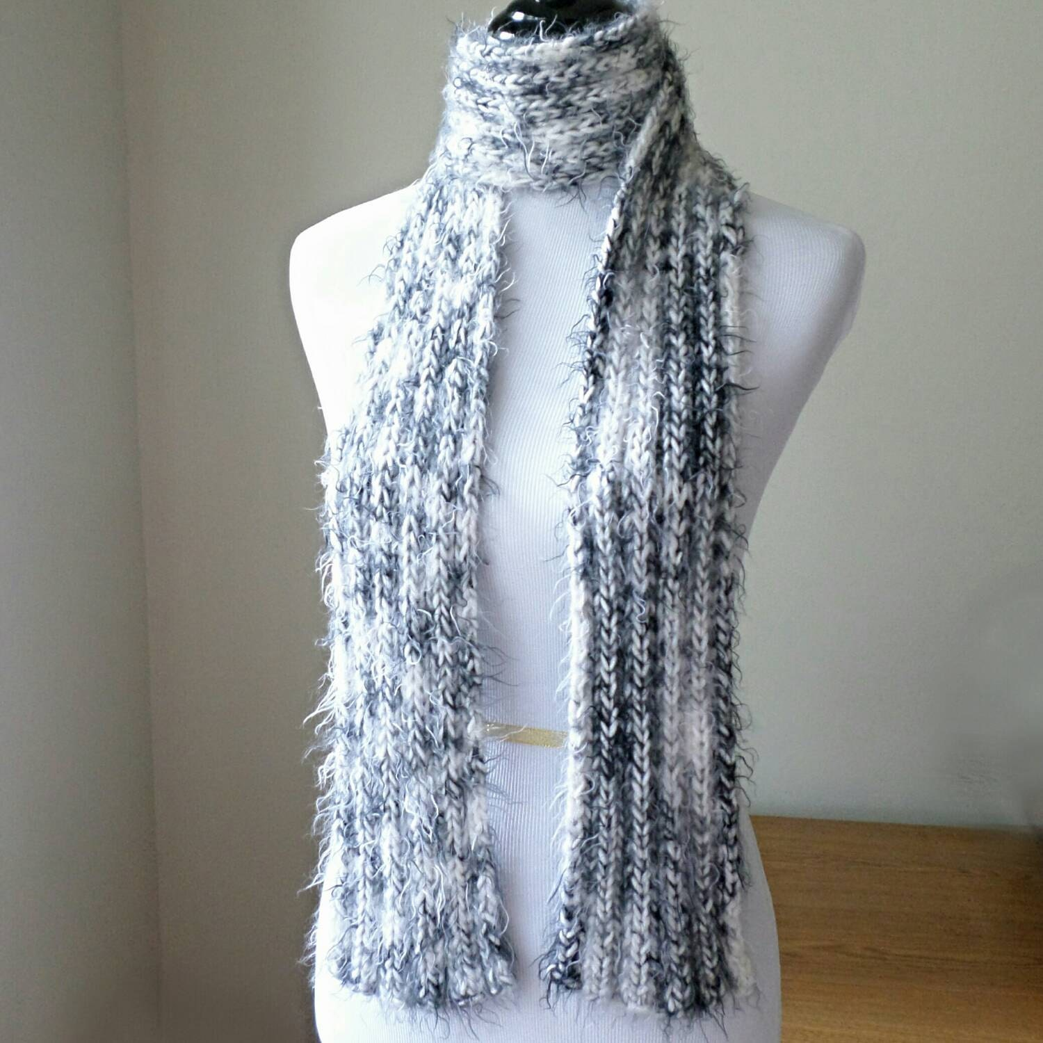 Black and White Soft Ribbed Scarf Super soft by anneliseknits