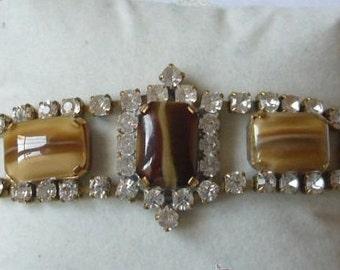Vintage butterscotch rhinestone bracelet