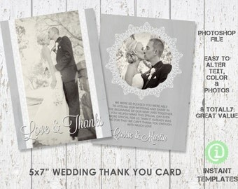 "Wedding Thank You Card Template 5""x 7"" Photoshop Template - C1W004"