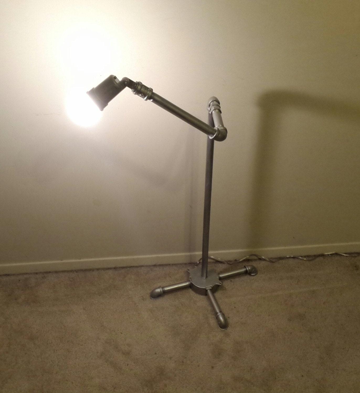 Pipe Lamp Industrial Lamp Urban Pipe Lamp By: Industrial Silver Pipe Lamp Floor Lamp Reading Bedroom