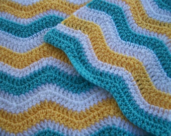 Crocheted Ripple Baby Afghan in Aqua, Yellow and White, Chevron Baby Blanket