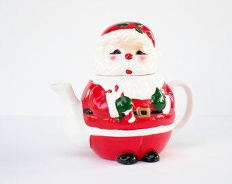 Vintage Santa Teapot, OCI Omnibus Santa Teapot, Fitz and Floyd Teapot
