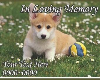Puppy Dog In Loving Memory Full Color Rectangle 013 Custom Vinyl Wall Decal or Car Sticker - ilmfullcolorrectangle013ET