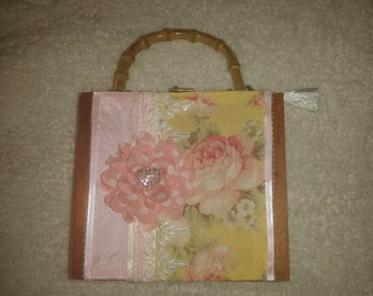 Romantic Pink Rose Cigar Box Purse