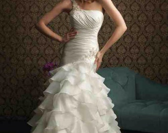 One Shoulder Dropped Waist Ruffled Wedding Dress